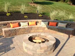 Backyard Entertaining Area: Outdoor Built In Fire Pit With ... Deck Patio Maryland Exterior Stone Half Wall With Iron Chairs And Round Table Plus Ideas Diy For A Sloped Backyard Home Garden Decor Wonderful Landscaping Sloping Front Yard Pictures Design Enclosed On Budget Need Please Steep Slope Inside Backyards Innovative Best About Picture How To Landscape A Diy Raised Patio With Steps Down Second Space Two Level Amazing Plan That You Should Consider