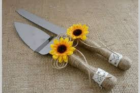 Cake Knife Set Wedding Serving Sunflower Rustic Cutter Server