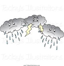 Clipart Of Dark Rain And Lightning Storm Clouds