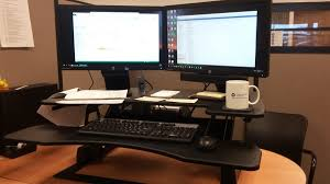 Dual Screen Standing Desk by Adjustable Standing Desk Review The Stumps Reviews