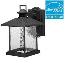 hton bay lumsden outdoor black led motion sensor wall mount