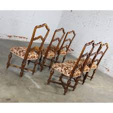 French Louis XIV Style Walnut Ladderback Dining Chairs