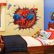 Removeable Pvc 3D Spiderman Wall Sticker Home Decor For Kids Broking In Stickers Rooms Free Shipping Y006