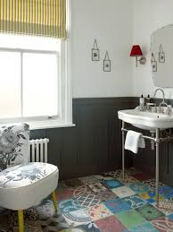 moroccan floor tile in bathroom transitional with frosted glass