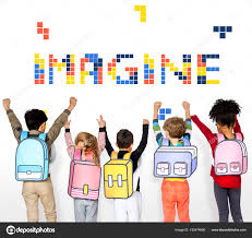 Group Of Multi Ethnic School Kids With Paper Backpacks Holding Hands Up Imagine Concept Photo By Rawpixel