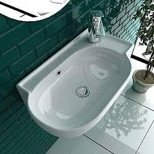 bad1a handwaschbecken mini waschtisch weiß keramik waschbecken 45 cm mit überlauf wc waschbecken klein gästebad hängewaschbecken wandmontage