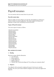 Resume Summary Examples For Payroll Specialist