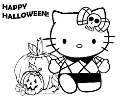 Hello Kitty And Pumpkin Halloween Coloring Pages