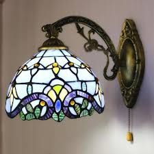 wall sconces lighting blue baroque stained glass one light