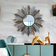großhandel kreative moderne europäische wohnzimmer wandbehang spiegel sonne dekorative spiegel veranda spiegel wandbehang wanddekoration rahmen