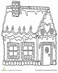 Kindergarten Holidays Seasons Worksheets Gingerbread House Coloring Page