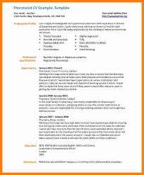 Cv Sample For Pharmacistpharmacist 9 Pharmacist Curriculum Vitae Free Example Format