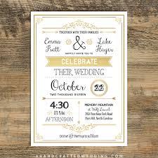 Gold DIY Rustic Chic Wedding Invitation Template