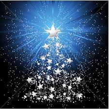 Silver Starry Christmas Tree With Light Burstin
