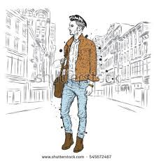 Handsome Guy In Stylish Clothes Hipster Vector Illustration
