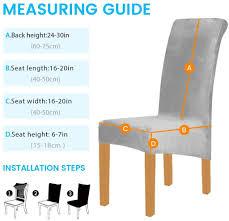6 stück xl velvet stretch esszimmerstuhl hussen elasthan plüsch stuhlhussen solide großes esszimmer stuhl protector home décor