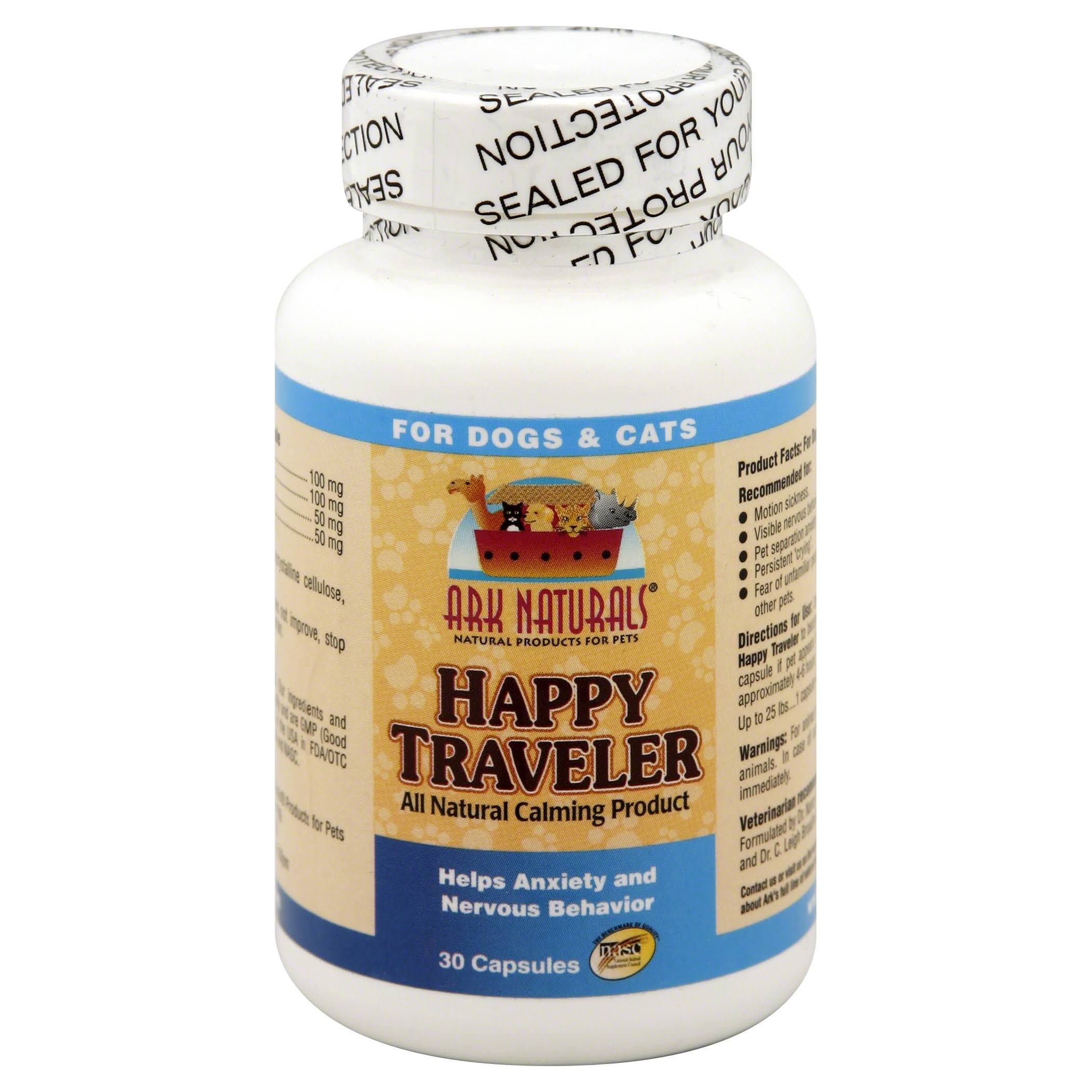 Ark Naturals Happy Traveler Dogs and Cats Supplement - 30 Capsules