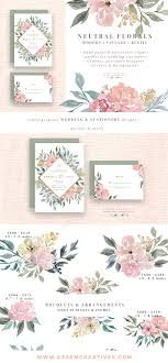 Neutral Wedding Flower Clipart Watercolor Background Rustic