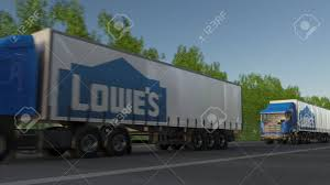 Freight Semi Trucks With Lowes Logo Driving Along Forest Road ... Ladder Rack Van Installation Truck Racks Lowes Near Me Kentucky Rest Area Pics Part 15 Intertional 8600 Flatbed Youtube Trailer Rental Good Loweus Receives Ninth Smartway Award Our House Mikes Birthday Present After Cstruction Day 1 Bathroom Design By Fearoftheblackwolf On Deviantart Saw This Crew Cab 7879 F250 While At Today Trucks Kobalt Tool Boxs Shop In Alinum Box At Size Optimizing Home Decor Ideas Decoration Stores Houston Decorations Fantastic P70 On Wonderful