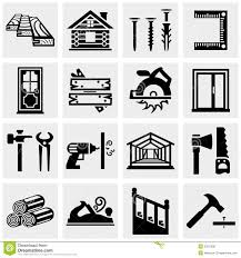 Carpentry Vector Icons Set On Gray Royalty Free Stock Photography
