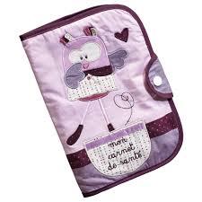 mam zelle bou protège carnet de santé violet de sauthon baby déco