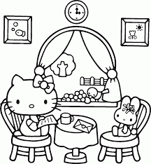 Hello Kitty Sitting Coloring Pages