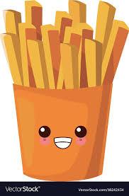 French Fries Food Cute Kawaii Cartoon Vector Image