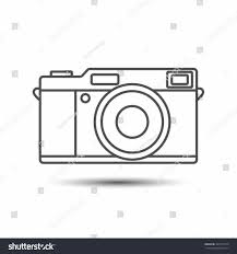 Thin Line Stock Photographic Film Icon Style Vintage Camera Outline