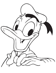 Cartoon Donald Duck Looking Up Coloring Page
