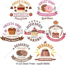 Pastry Bakery Cake Shop Symbols In Retro Style Vector