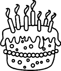 Cake clipart candle black and white 11