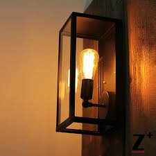 american industrial style glass box vintage edison bulb wall l
