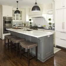 Gray Barstools Transitional Kitchen Benjamin Moore White Dove Martha OHara IslandSink
