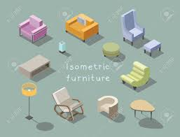 100 Rocking Chair With Pouf Vector Isometric Set Of Modern Living Room Furniture Home
