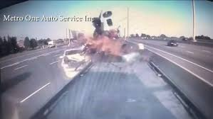 100 Truck Crashes Caught On Tape VIDEO Car Slams Into Crashed Truck At Side Of Toronto Highway