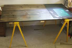 Ikea Desk Legs Uk by Furniture Wooden Sawhorse Desk With Yellow Iron Legs For Home
