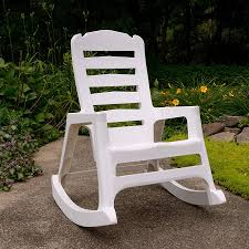 Shop Adams Mfg Corp White Resin Stackable Patio Rocking Chair At ...