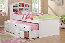 White Twin Bed with Trundle and Drawers Huntington Beach Furniture