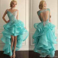 hi lo ball gown 8th college homecoming dresses mint green