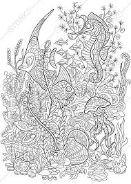Underwater World Coloring Page Adult By ColoringPageExpress