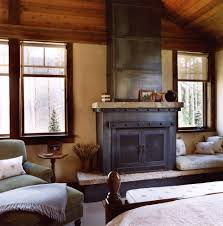 Rustic Electric Fireplace Bedroom With Mantel Faux Finish Roller Blinds