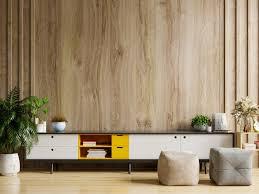 kabinettfernseher im modernen wohnzimmer mit dekoration auf