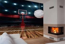 chambre basketball poster salle de basket trompe l oeil terrain de basketball
