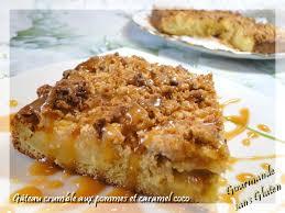 dessert aux pommes sans gluten gourmande sans gluten gâteau crumble aux pommes caramel coco