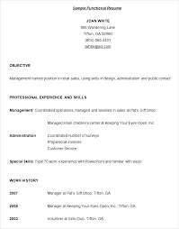 Functional Resumes Samples Resume Example Examples Of Fabulous
