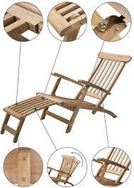 grade a teak 1 6m aspen steamer lounger chair by liz frances