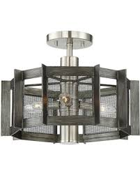 3 Light Semi Flush Mount Industrial Style Ceiling Dining Room
