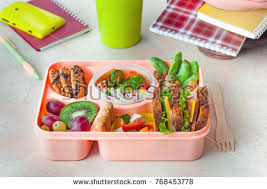 Healthy Food Concept Open Lunch Box With Sandwiches Vegetable Salad