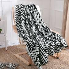 plaid noir canapé plaid couverture jeté de canapé lit en tricot acrylique à chevrons