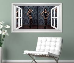 3d wandtattoo fenster erotik frau korsett strümpfe schwarz schlafzimmer po collage weiß wand aufkleber wanddurchbruch sticker selbstklebend